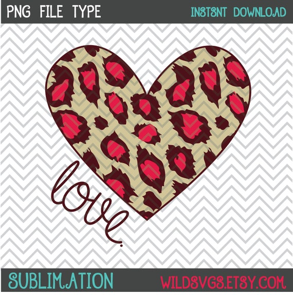 Leopard Heart Sublimation Leopard Heart Clipart Leopard Etsy