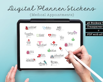 46 Medical Appointments Digital Planner Stickers