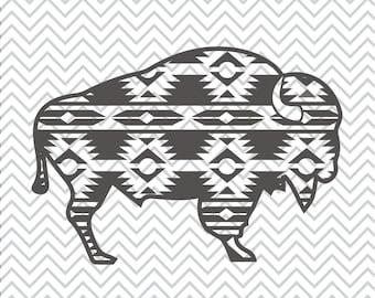 Aztec Buffalo SVG, Sublimation, Aztec Print Buffalo Clipart, Tribal Print Buffalo, Aztec Buffalo Print SVG, Cricut Cut File, Silhouette File