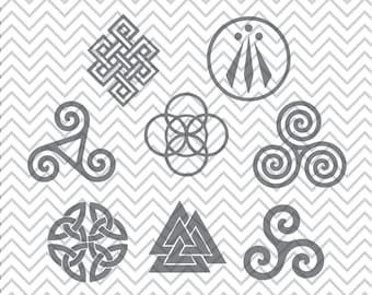Celtic Symbol SVGs, Awen svg, valknut svg, eternity knot svg, spiral svg, triskele svg, triskelion svg, Cricut Cut File, Silhouette File