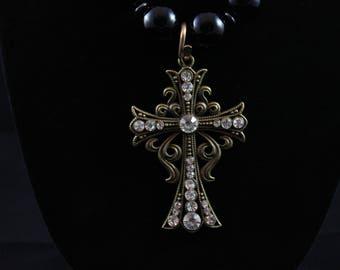 Black Onyx Bead and Cross Pendant Necklace