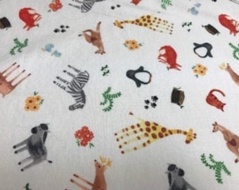 Zoo fabric - Kangaroo, Bird, Fox, Penguin, Zebra, Bird, Deer