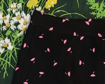 Spring Showers 90's Rainy Day Black Skirt with Pink Umbrella