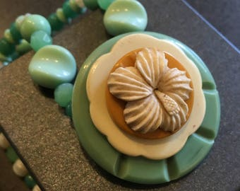 RetroGlam Necklace #11 _ Vintage button, buckle and beads