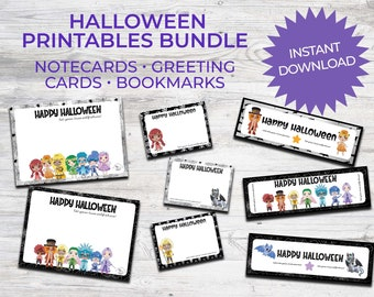 Halloween Printables Bundle Chakra Kids | Note Cards, Greeting Cards, Bookmarks | Instant Download