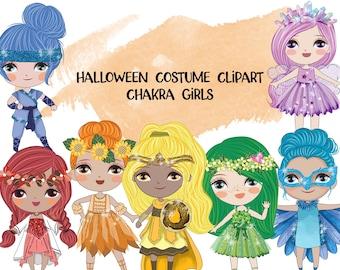 Halloween Chakra Girls Clipart | Instant Download