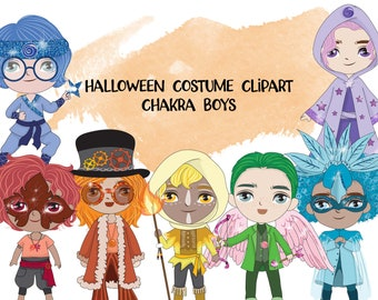Halloween Chakra Boys Clipart | Instant Download