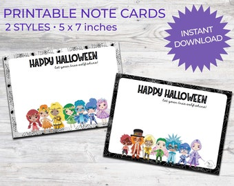 Halloween Printable Greeting cards Chakra Kids | Instant Download