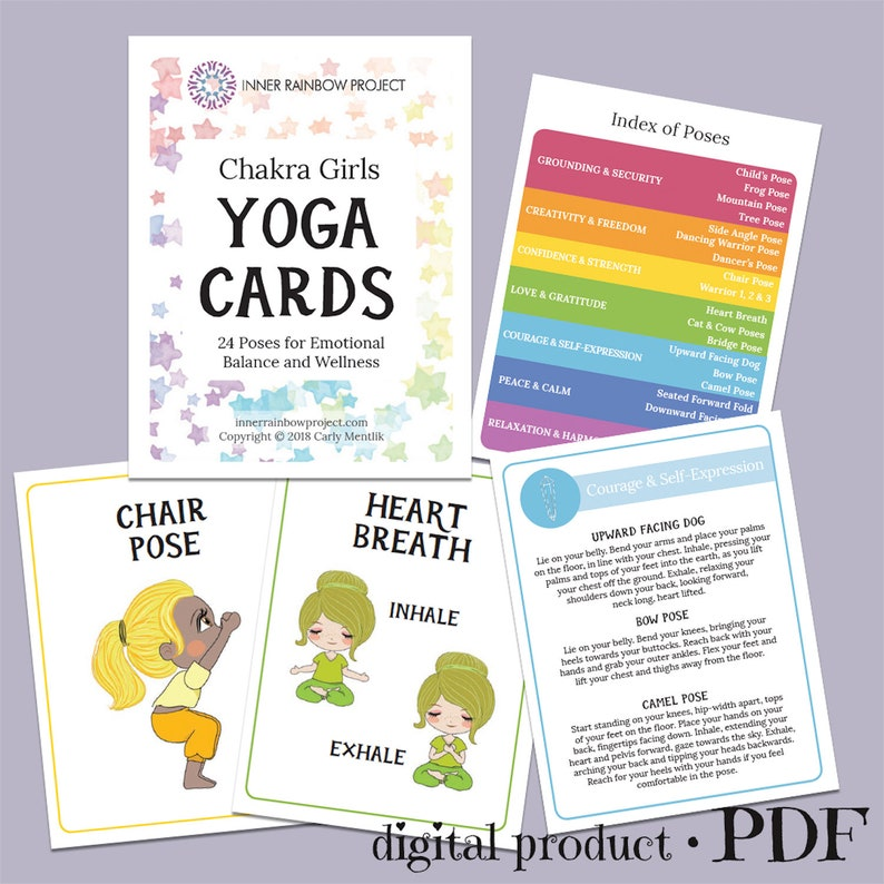 photo regarding Yoga Cards Printable referred to as Chakra Ladies Yoga Printable Yoga Playing cards Electronic Yoga Playing cards Yoga for Children