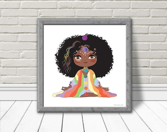 Printable Chakra Goddess Poster | Digital Yoga Poster | Yoga for Kids | 7 Chakras