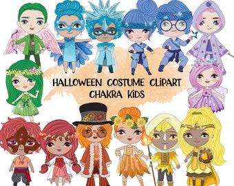 Halloween Chakra Kids Clipart | Instant Download