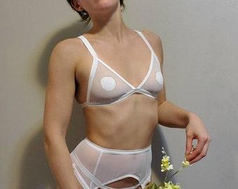 White Minimalist Mesh Lingerie Set