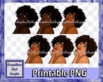 BLACK WOMAN CLIPART PnG - Mala African American Clip Art Head and Shoulders Curly Hair Profile Hand on Face Chin Light and Dark Skinned Lady
