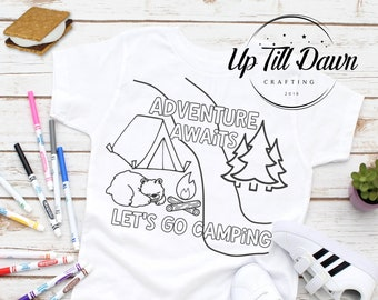 Camping Coloring Shirt SVG, Camping SVG