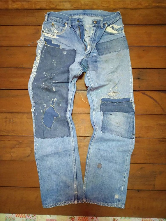 Vintage foremost jeans mechanic patchwork small re