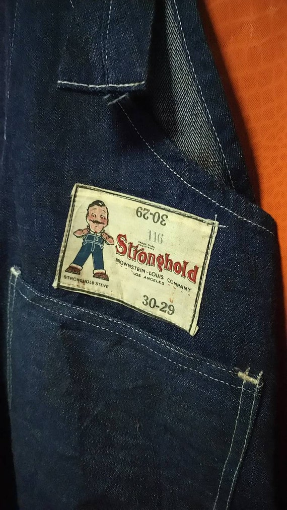 Antique overall denim railroad stronghold 1930s o… - image 5