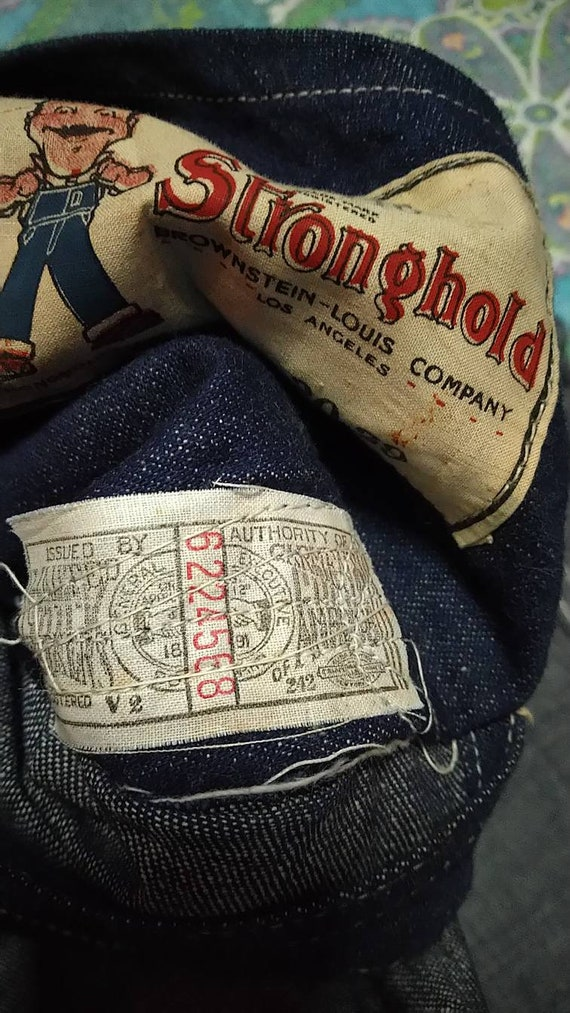 Antique overall denim railroad stronghold 1930s o… - image 3