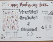 SET OF 4 ⎜ Thanksgiving personalized placemats⎜kids table holiday⎜laminated or not⎜coloring page⎜placemat⎜classroom teacher treats n gifts