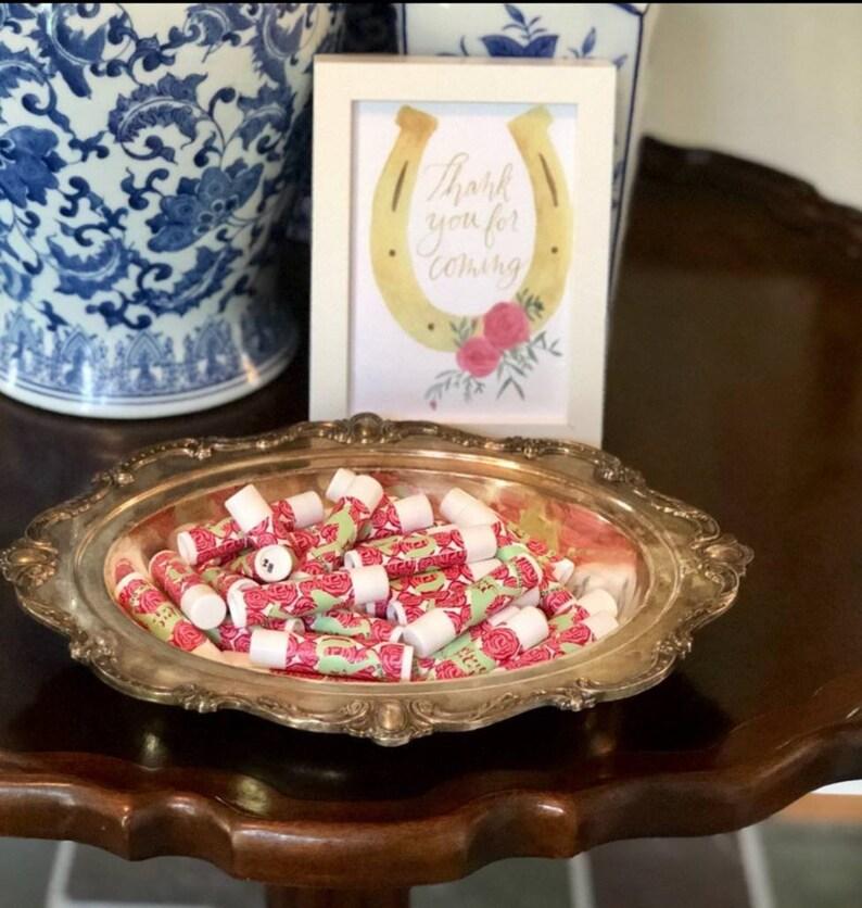 Custom Kentucky Derby baby shower party favors \u239c lip balm gifts \u239chorse theme parties Personalized chapstick roses mint julep \u239cSET OF 10