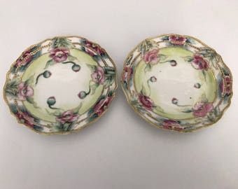 Authentic Antique Nippon Hand Painted Saucer Pair Raised Beaded Gold