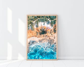 Beach Drone Print, Seaside Wall Art, Ocean Waves Photo, High Resolution Printable Poster, Digital Download Decor, Minimalist Design, Blue