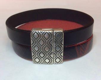 Leather bracelet   Leather and silver bracelet   Handmade bracelet   Double wrap bracelet   Modern bracelet