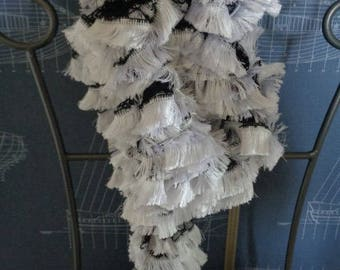 Black and white lace wool scarf