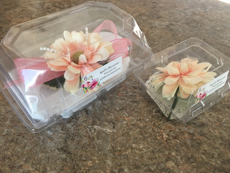 Pink and Pearl corsage and boutonni\u00e8re set