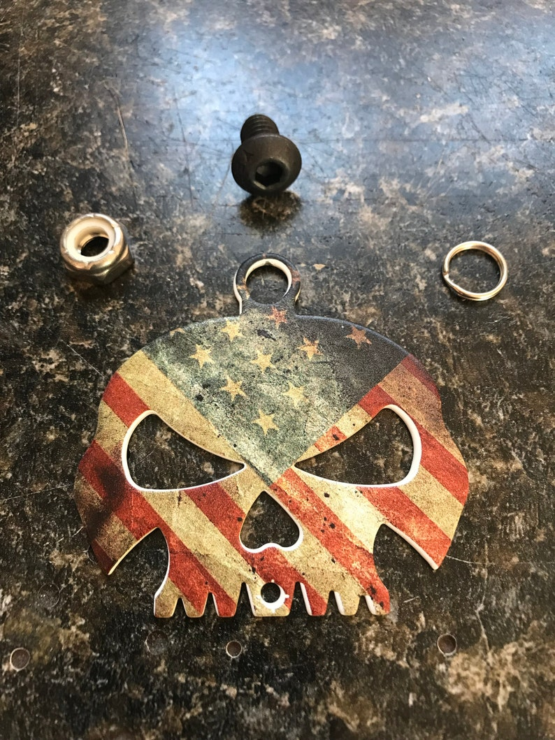 American Flag Skull Bell Hanger//Mount for Motorcycle Bolt /& Ring Included fits all bikes Road King Street Glide Harley Davidson