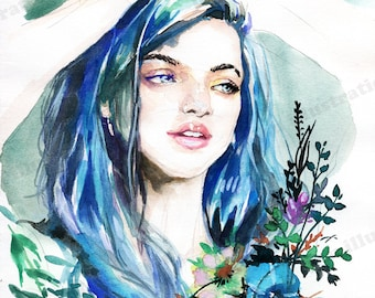 Blue Hair Fairy, Watercolor (Frame is NOT included)
