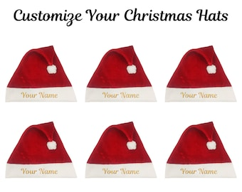 0a54f49d196 Custom Christmas Santa Hats Personalized Santa Hats Your Text Hat Christmas  Santa Hat Name Hat Customize Santa Hat Santa Claus Hat Xmas Hat