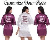 Custom Robe Personalized Robe Your Text Here Robe Wedding Robe Name Robe Customize Robe Bridal Robe Wedding Party Robe Bridal Shower Robe