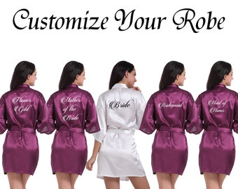 7310030043 Custom Robe Personalized Robe Your Text Here Robe Wedding Robe Name Robe  Customize Robe Bridal Robe Wedding Party Robe Bridal Shower Robe