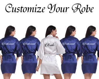 Custom Robe Personalized Robe Your Text Here Robe Wedding Robe Name Robe  Customize Robe Bridal Robe Wedding Party Robe Bridal Shower Robe 246fac0a8
