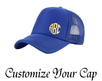 6d04dbf4fc5 Custom Trucker Mesh Cap Personalized Snap back Cap Your Monogram Here Name  Cap Customize Mesh Cap Foam Net Snap Back Cap Hat