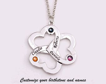 Personalized Name Necklace Customize Triple Heart Necklace With Birthstone Custom Birthstone Necklace Your Name Custom Necklace Name Pendant