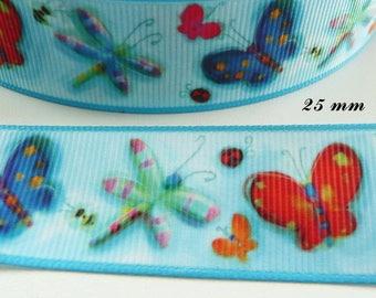 Ruban gros grain bleu papillons liseré parme Ourson// Teddy de 25 mm vendu au m