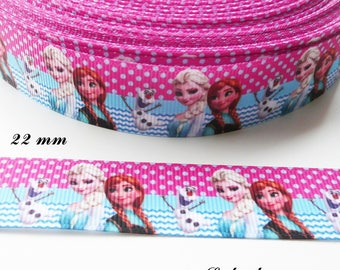 Ribbon grosgrain fuchsia dot & Chevron Elsa Anna Olaf 22 mm sold by 50 cm