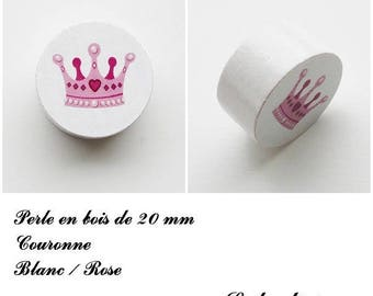 20 mm wooden bead, Pearl White plate: Crown Rose