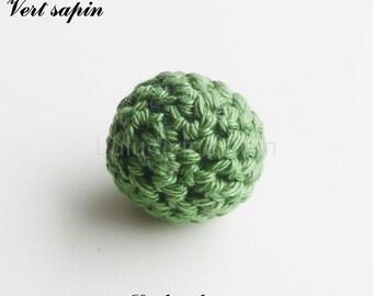 Bead crochet Ø 25 mm, round Pearl: Pine Green