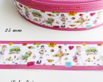 Ribbon grosgrain edging white pink holiday Surf Skate & lazy 25 mm sold by 50 cm