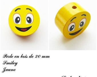 Wooden bead of 20 mm, flat bead, smiley face: yellow