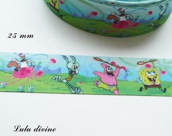 Ribbon grosgrain SpongeBob, patrick, Carlo & Sandy 25 mm sold by 50 cm