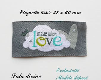 Woven label - made with love - 28 x 60 mm, grey Cloud