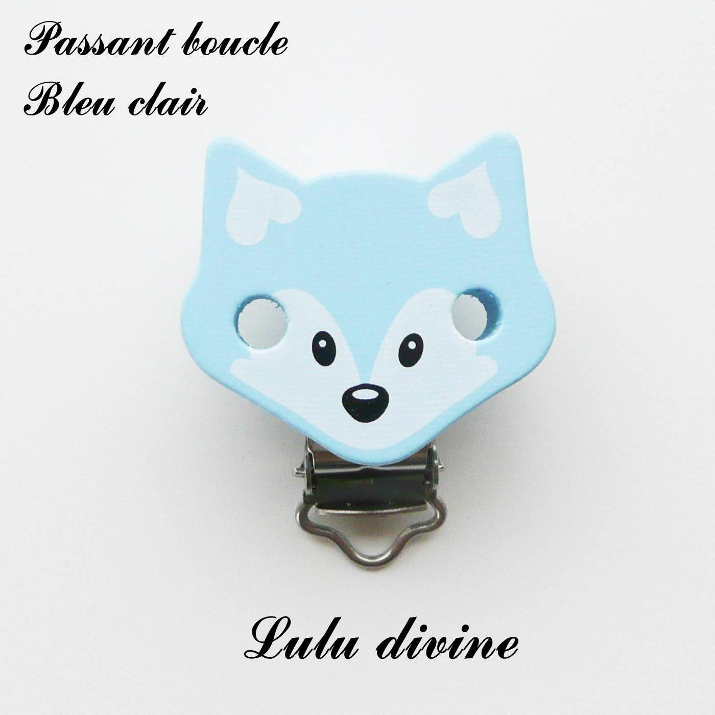 attache tétine passant boucle Pince // Clip en bois Renard : Bleu clair