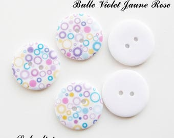 Set of 5 buttons round 23 mm 2-hole: bubble purple yellow pink