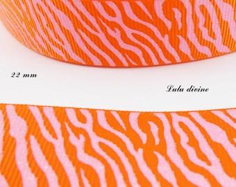 Ribbon grosgrain orange Zebra effect pink shiny 22 mm sold by 50 cm