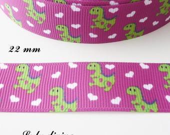 Ribbon purple grosgrain childish pattern dinosaur 22 mm sold by 50 cm