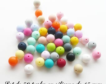 50 15mm silicone beads, color mix