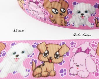 Ribbon large grain pink Dogs too cute white beige pink 25 mm sold per meter